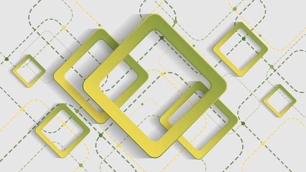 Abstracte geometrische achtergrond met groen gradiëntvierkant op witte background