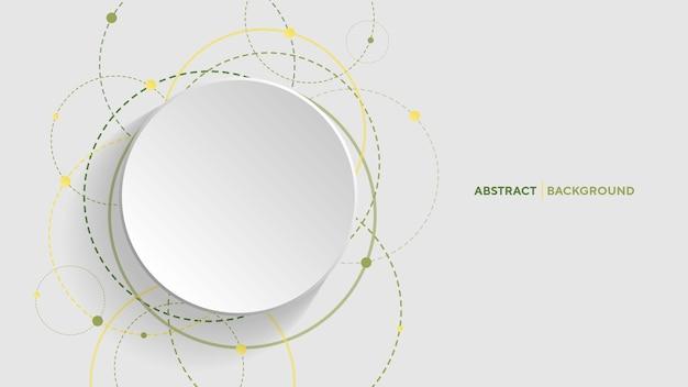 Abstracte geometrische achtergrond met groene gradiëntcirkel op witte background
