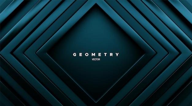 Abstracte geometrische achtergrond met tijwater groene concentrische vierkante kaders