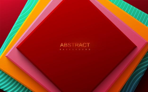 Abstracte geometrische achtergrond met veelkleurige vierkante vormen