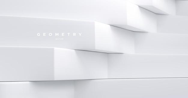 Abstracte geometrische achtergrond met witte architectonische vormen