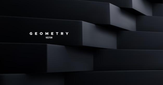 Abstracte geometrische achtergrond met zwarte architectonische vormen