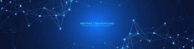 Abstracte geometrische banner met verbindende punten en lijnen. wereldwijde netwerkverbinding. digitale technologie met plexus