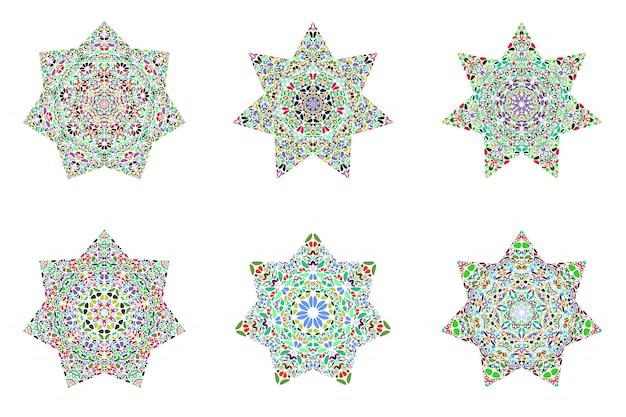 Abstracte geometrische bloem ornament ster veelhoek set