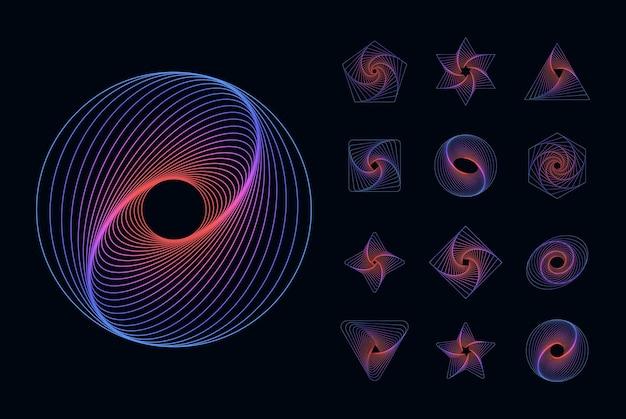 Abstracte geometrische elementen universele dynamische vormen vloeiende lijnen