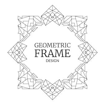 Abstracte geometrische frame huwelijksuitnodiging retro lijn art deco patroon grens met harten