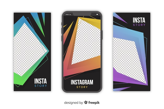 Abstracte geometrische instagram verhalen sjabloon
