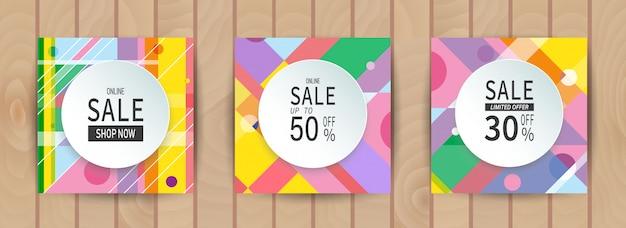 Abstracte geometrische kleurrijke verkoop banner set