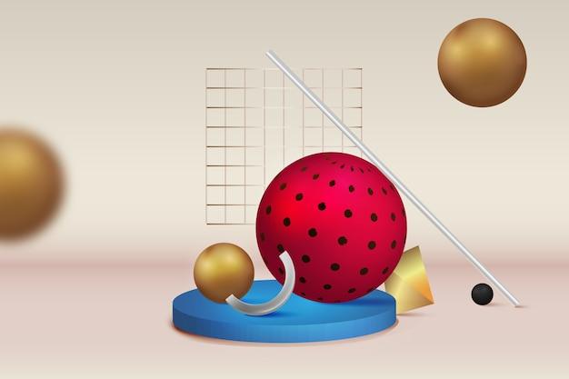 Abstracte geometrische lege podium of sokkel display voor productplaatsing op kleurrijke achtergrond met box stand concept
