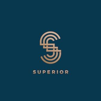 Abstracte geometrische minimale teken, symbool of logo sjabloon. s brief modern monogram. gouden verloop. geïsoleerd op donkere achtergrond