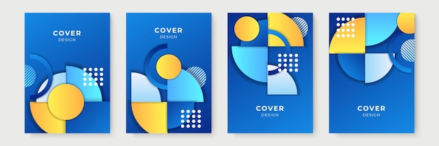 Abstracte geometrische omslagontwerpen met kleurovergang, trendy brochuresjablonen, kleurrijke futuristische posters. vector illustratie. blauw gele verloopkleur
