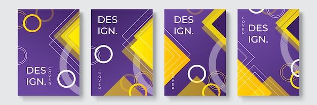 Abstracte geometrische omslagontwerpen met kleurovergang, trendy brochuresjablonen, kleurrijke futuristische posters. vector illustratie. wereldwijde stalen