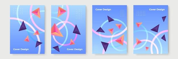 Abstracte geometrische omslagontwerpen met kleurovergang, trendy brochuresjablonen, kleurrijke futuristische posters. vector illustratie