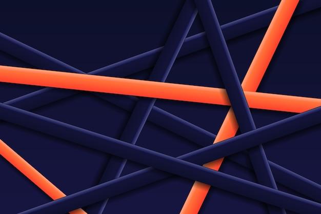 Abstracte geometrische oranje lijnen tussen blauwe lijnenachtergrond