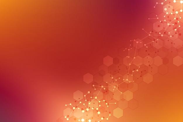 Abstracte geometrische textuur met moleculaire structuren en neuraal netwerk.