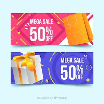 Abstracte geometrische verkoopbanners met realistische elementen