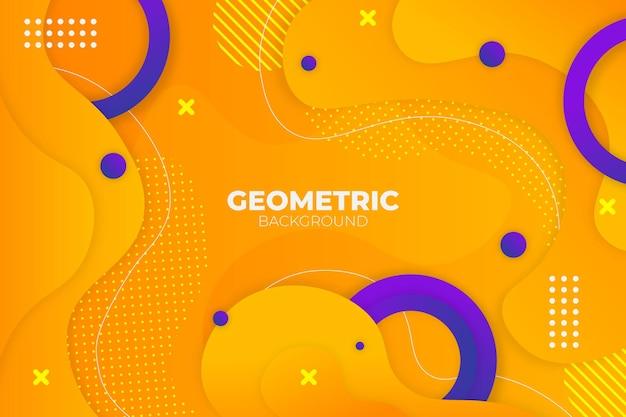 Abstracte geometrische vloeibare gele en blauwe achtergrond