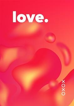 Abstracte geometrische vloeiende elementen. futuristisch design. geometrische vloeiende kleuren vormen. liefde.
