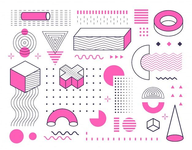 Abstracte geometrische vormen en vormen die met kleur worden geplaatst. memphis-stijl ontwerp