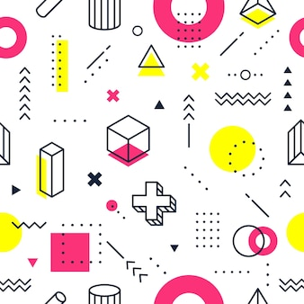 Abstracte geometrische vormen memphis stijl naadloos patroon