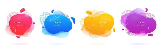 Abstracte geometrische vormen met kleurovergang set van geïsoleerde azuurblauwe of blauwe flud vlek rode borstel blob Premium Vector