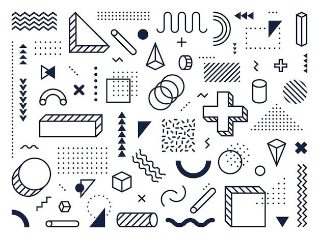 Abstracte geometrische vormen. overzicht cirkel, driehoek en kubus. trendy symbolen, lijnen en puntenpatronen in memphis-stijl. meetkunde wiskunde hipster ornament abstracte tekens. geïsoleerde vector iconen set