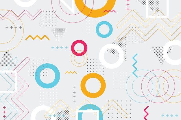Abstracte geometrische vormenachtergrond in de stijl van memphis