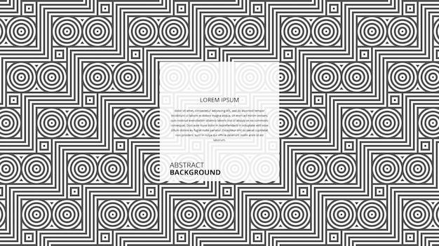 Abstracte geometrische zigzag vierkante cirkel lijnen patroon