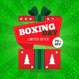 Abstracte geschenkdoos met bomen voor tweede kerstdag verkoop