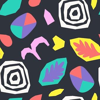 Abstracte gescheurd papier en geometrische vormen collage. retro stijl. vector naadloos patroon.