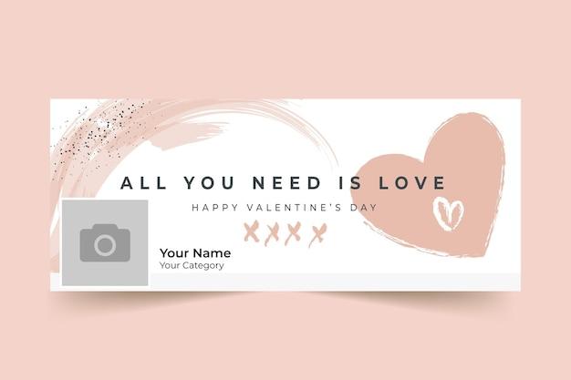 Abstracte geschilderde eenkleurige facebook-omslag voor valentijnsdag