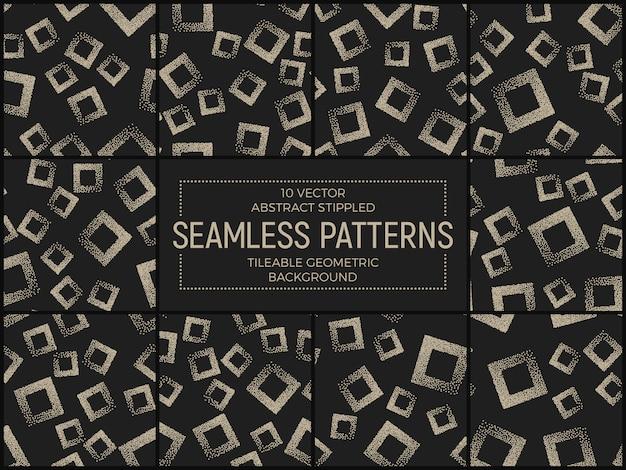 Abstracte gestippelde naadloze patronen set