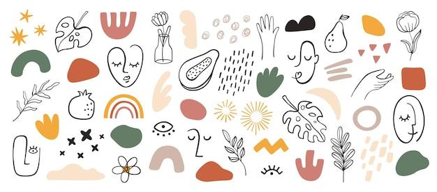 Abstracte gevormde gezichten. minimalistisch vrouwenportret, moderne modevormen. doorgetrokken streep. hand getrokken bloemen, bladeren en handen vector set. illustratie vrouw grafisch portret, gezicht tekenen lijn