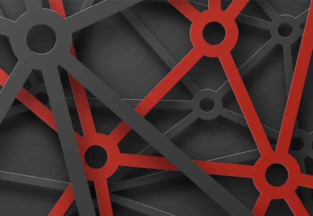 Abstracte gevormde spinnenwebben van lijnen en cirkels op de kruising. Premium Vector