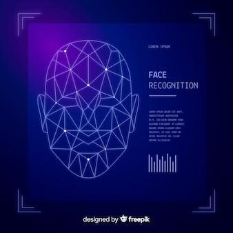 Abstracte gezichtserkenning blauwe achtergrond