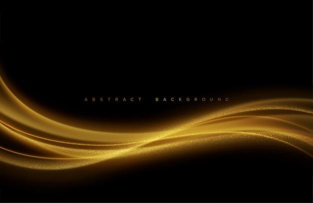 Abstracte glanzende kleur gouden golf ontwerpelement met glitter effect op donkere achtergrond.