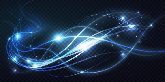 Abstracte glanzende lichtgevende blauwe golven lijnen helder lichteffect magische neon swirl sporen
