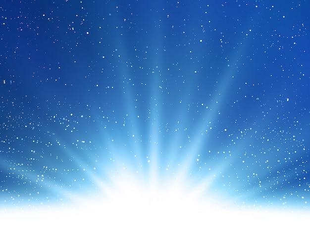Abstracte glanzende magische blauwe lichte achtergrond