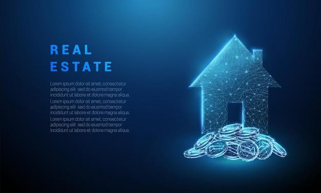 Abstracte gloeiende blauwe stapel munten en huisje onroerend goed concept laag poly wireframe vector
