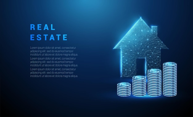 Abstracte gloeiende blauwe stapel munten en huisje Premium Vector