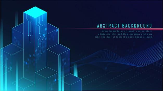 Abstracte gloeiende futuristische blokkenachtergrond