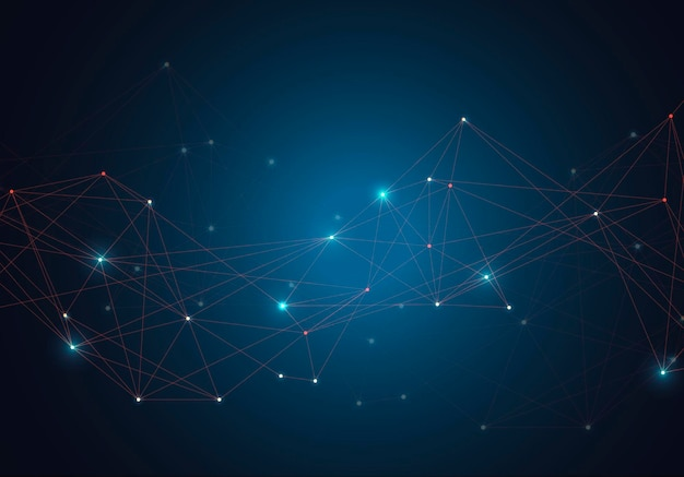 Abstracte gloeiende heldere moleculen met stippen en lijnen op blauwe achtergrond.