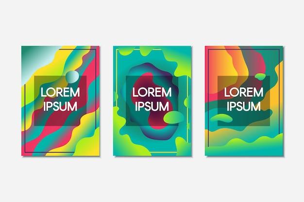 Abstracte gloeiende vloeibare bannerreeks. kleurrijke trendy achtergronden met tekstruimte. creatieve posters