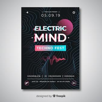 Abstracte golf elektronische muziek poster sjabloon