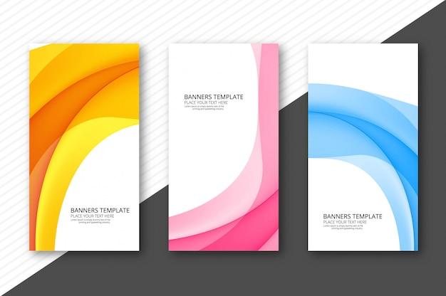 Abstracte golf kleurrijke banners geplaatst ontwerp