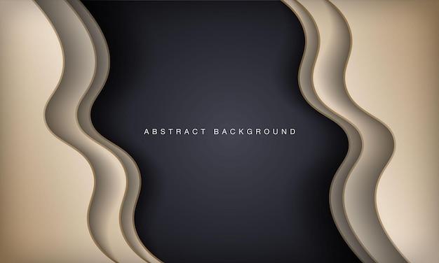 Abstracte golf zwart en goud luxe achtergrond moderne papercut sjabloon
