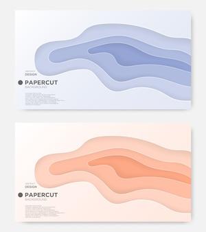 Abstracte golfachtergrond, papier gesneden stijl