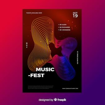 Abstracte golven muziek poster sjabloon