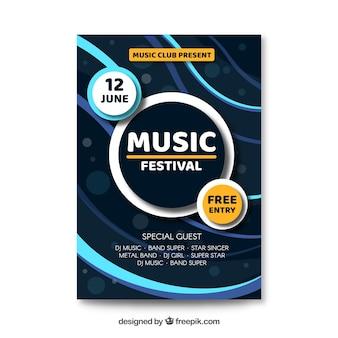 Abstracte golven muziekfestivalaffiche
