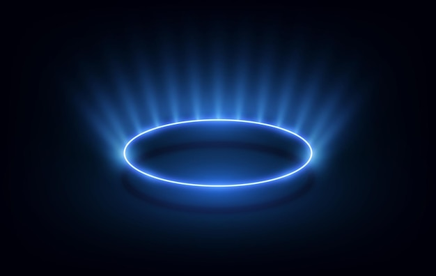Abstracte golvende cirkels lijnen ronde frame blauwe kleur geïsoleerd op zwarte achtergrond. technologie modern concept. vector illustratie